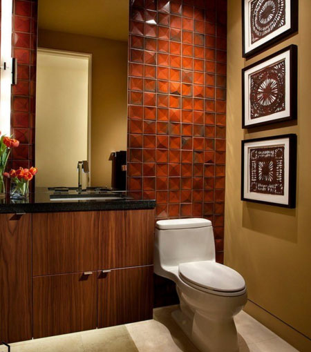 Цветная керамика в туалете