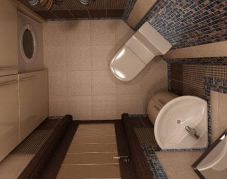 Комбинирование керамогранита и плитки в туалете