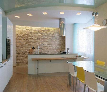 Комбинированные потолки на кухне