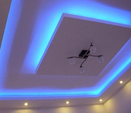 Сочетание гипсокартонных и подвесных потолков