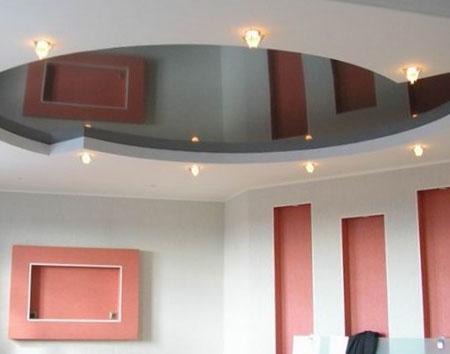 Сочетание гипсокартонного и натяжного потолка